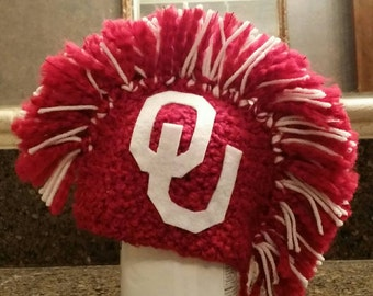 OU red and white Mohawk hat