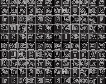 riley blake periodic table on black 32 inch piece