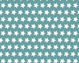 Basics Teal Star by Riley Blake Designs - 1 yard 21 inches