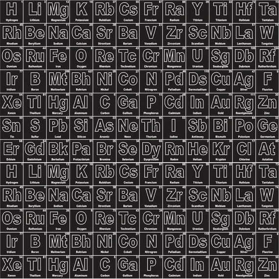 Riley Blake Periodic Table On Black 32 Inch Piece Etsy