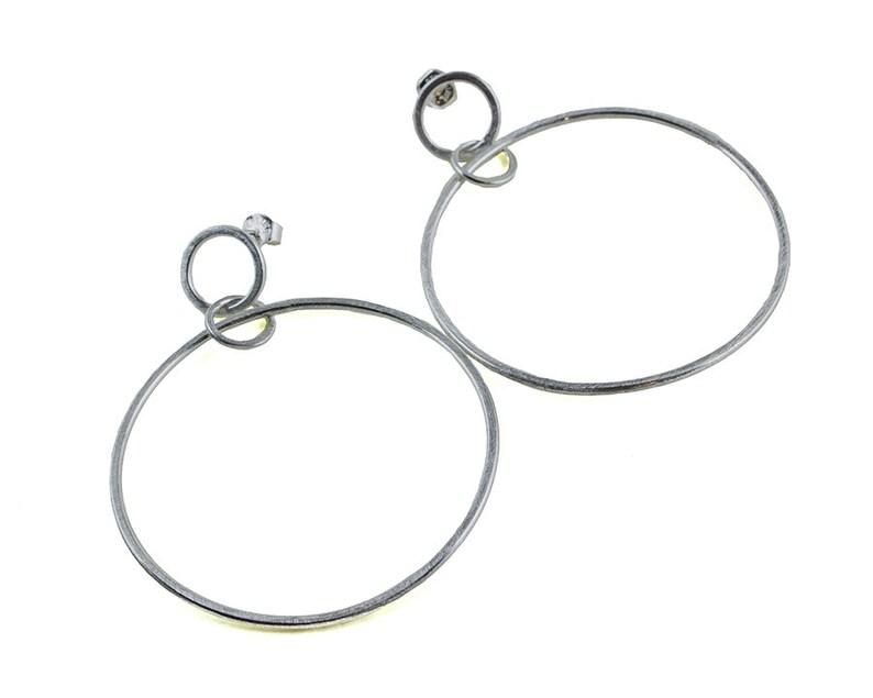 d4800932f Silver Hoop Earrings Stud Hoop Earrings Dangle Post | Etsy