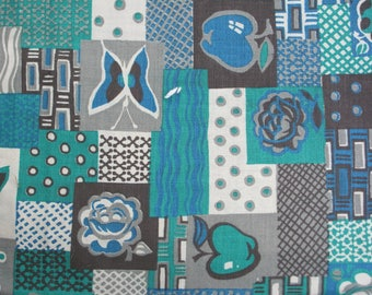 Green, Blue, Sepia and Gray Vintage Fabric