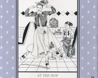At the Hop, Poodle Skirt, Circle Skirt, Peter Pan Blouse, Cardigan Sweater, sewing patterns, knitting pattern,1950s era