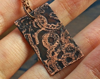 Cog & Gear Clockwork Necklace in Copper - steampunk, industrial jewelry