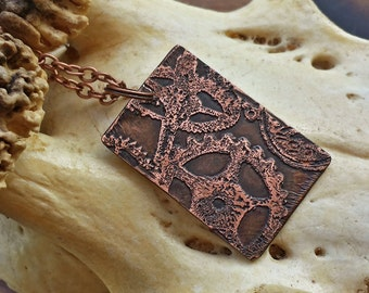 Etched Copper Cog & Gear Clockwork Necklace - steampunk, industrial jewelry