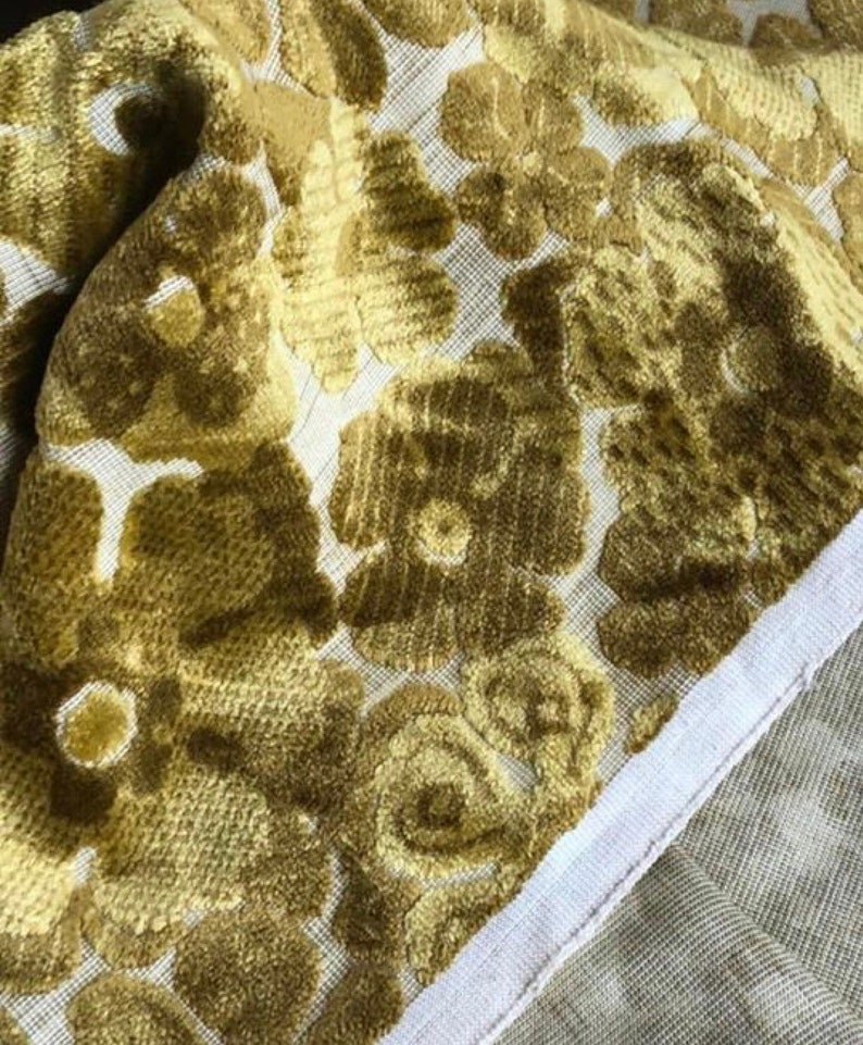 Plush Vintage Golden Yellow and Green Floral Fabric