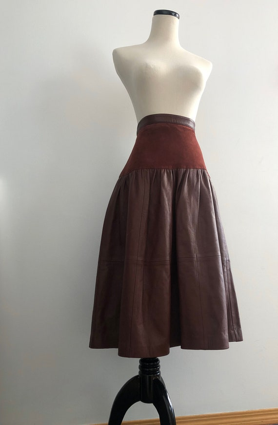 Vintage Leather/ Suede Skirt   long leather skirt