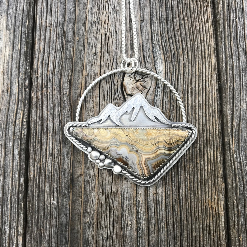 Statement Necklace for Women Crazy Lace Agate Sterling Silver Mountain Necklace Natural Turquoise Pendant