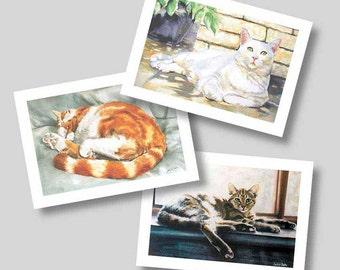 3 Cats Greetings Cards from Original Watercolors