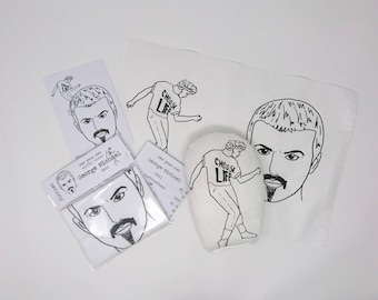 GEORGE MICHAEL Sew Your Own Doll Kit, Wham! Wake me up, Last Christmas, 80's Gift, Music Lover, Craft