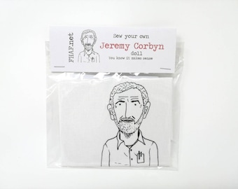 JEREMY CORBYN Sew Your Own Doll Kit, Politics, Labour, Socialism, Gift, Election, Leftist, Left Wing.