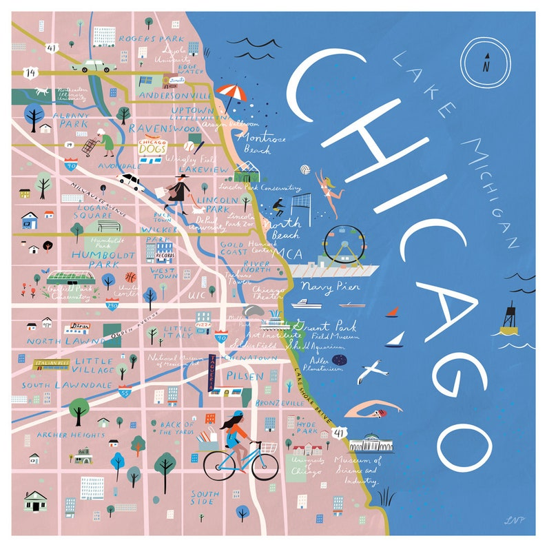 Chicago Illustrated Map Print 12 x 12 | Etsy on
