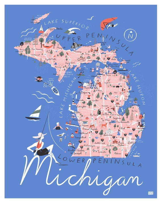 Michigan Map Poster Blue 16 X 20 Etsy