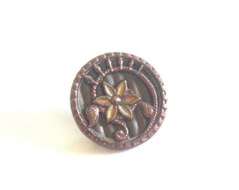 Floral Swirl Victorian Metal Button