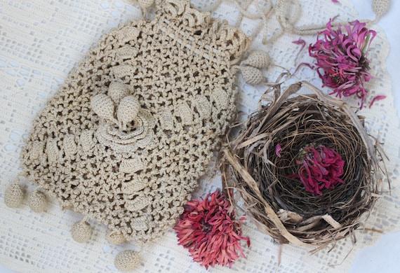 Victorian Crochet Handbag Drawstring Riticule Bag