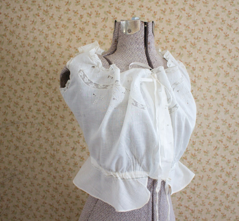 cedaf456ae3 Victorian Camisole Corset Cover Embroidered Cotton Sm to Med