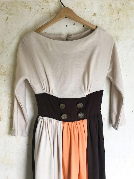 Color Block 1950s Vintage Dress