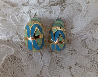 Vintage Joan Rivers Ribbed Hoop Jet Gem Earrings Original Box And Romance Card J64