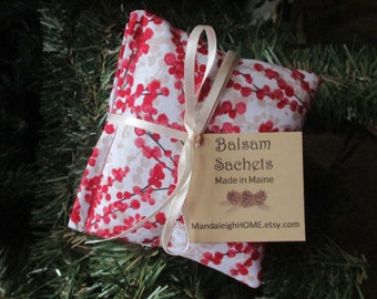 Maine Balsam Fir Red Berries on Branch Sachet Set of 3 Pine Scent Ready to Ship Free Shipping Ready to Ship