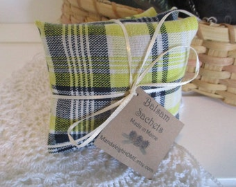 Lavender or Maine Balsam Fir Sachet set of 3 Yellow and Blue Plaid Free Shipping Ready to Ship