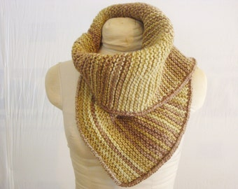 Eco-Fashion Cowl - Natural Dye Hand-Knit Merino Wool - Eco Gift - KNW121401 -