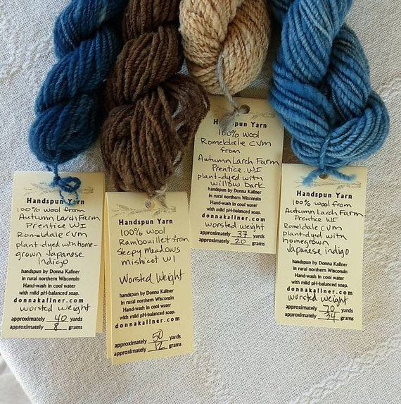 Hand spun mini skein set-natural and plant dyed wool in brown and blue shades.