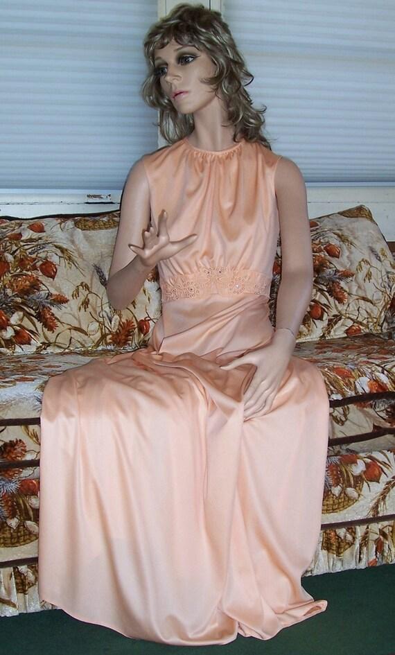 1970's Unworn Vintage NOS Peach Jersey maxi gown