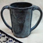 Two-Handled Tall Mug, Mottled Blue, Adaptive Pottery