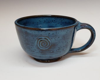 Mottled Blue Latte Mug