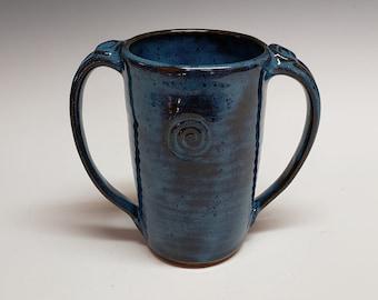 Two-Handled Tall Mug, Mottled Blue, Adaptive Pottery