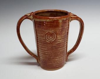 Cinnamon Brown Two-Handled Mug, Adaptive Pottery