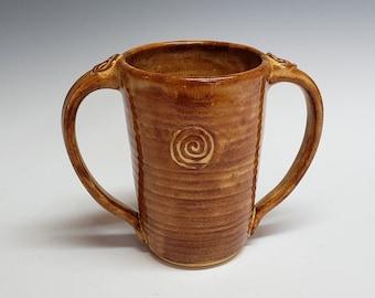 Honey Brown Two-Handled Tall Mug, Adaptive Pottery