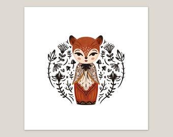 Fox Doll - Art Print 8x8