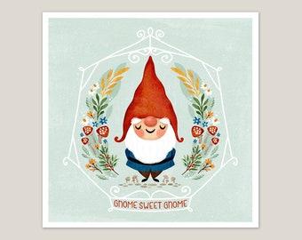 Gnome Sweet Gnome - Art Print 8x8
