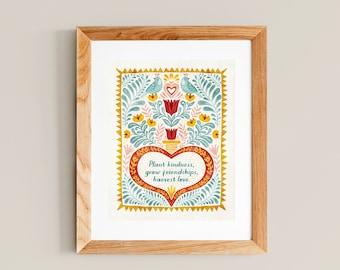 Plant Kindness Quote - Art Print 8x10