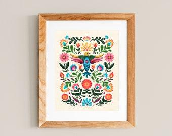 Folk Art Flora - Art Print 8x10