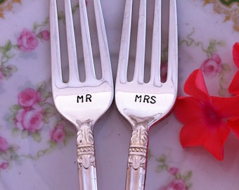 Mr. and Mrs Wedding Cake Tasting Forks with date by Blithe Vintage