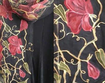 """Red and black silk scarf. Floral Sweet Pea hand painted chiffon scarf. Black red gold elegant silk shawl. Artists scarf 18"""" x 71"""" for ladies"""