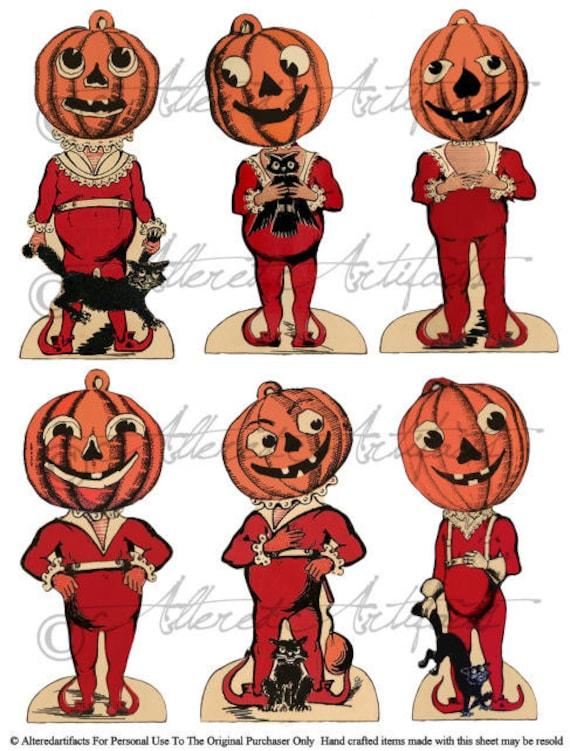 Retro Vintage Halloween Clip Art.Printable Pumpkin Head Halloween Clip Art Printable Retro Beistle Scraps Black Orange Vintage Halloween Digital Collage Sheet Download