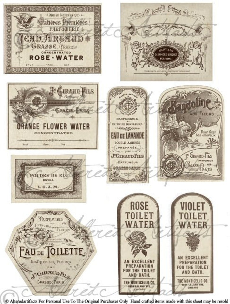photograph regarding Printable Vintage Labels identified as Printable Common French Fragrance Labels Printable Bottle Label Printable Antique Perfume Label Electronic Collage Sheet Obtain