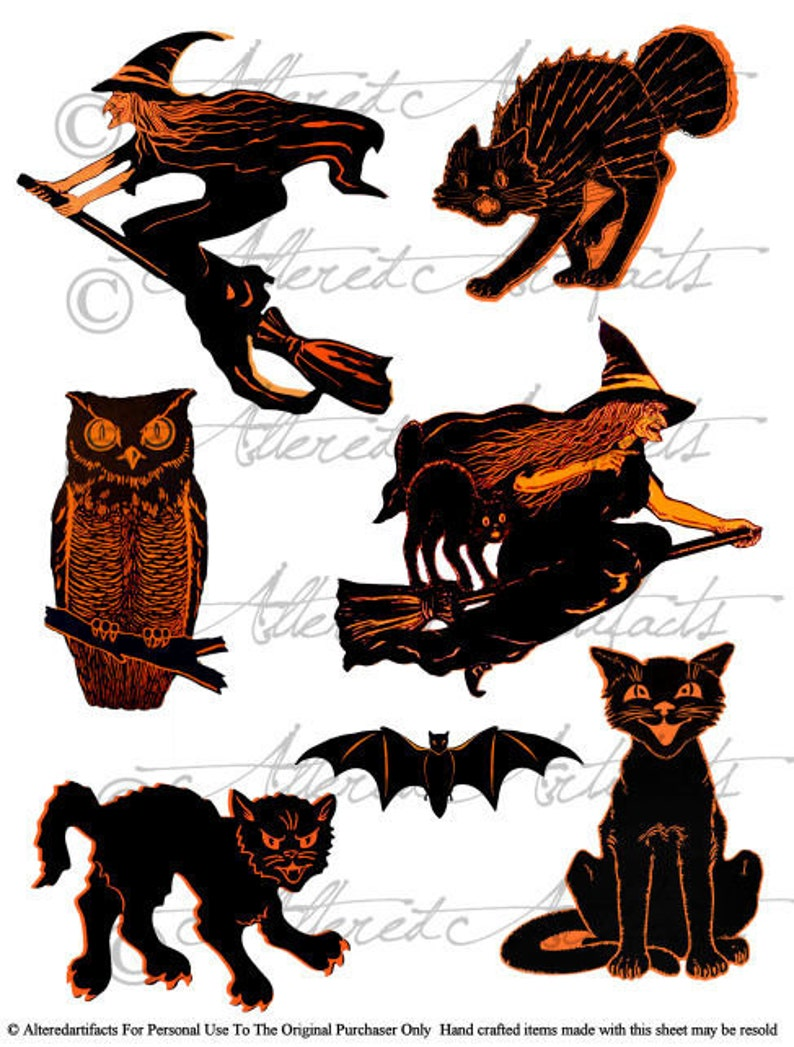 Retro Vintage Halloween Clip Art.Printable Vintage Halloween Clip Art Printable Retro Scraps Halloween Black Orange Witch Owl Cat Bat Digital Collage Sheet Instant Downioad