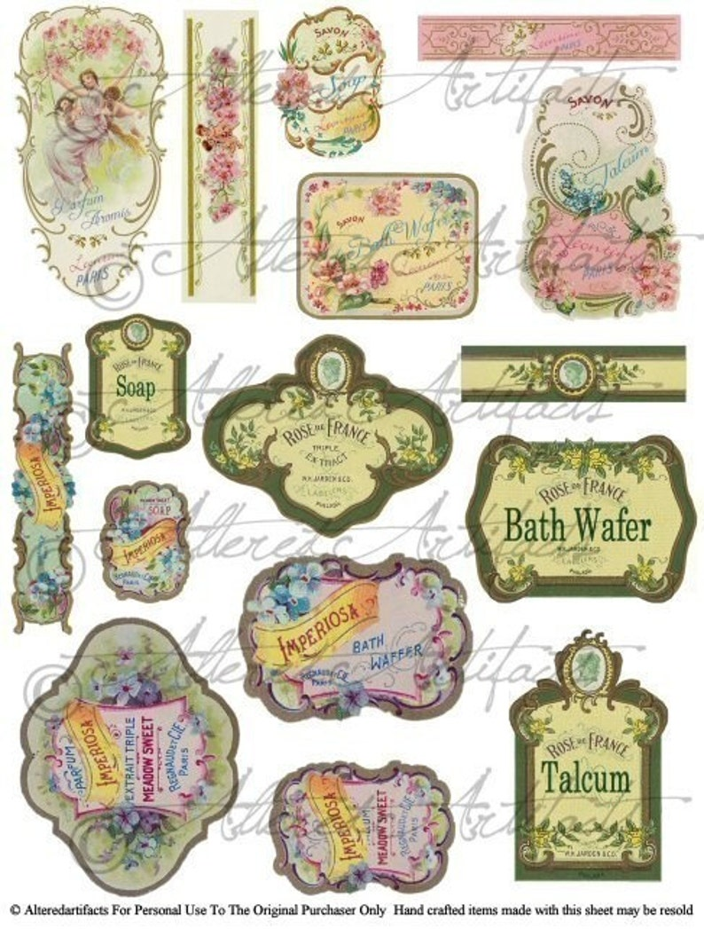 Printable Vintage French Perfume Labels Digital Bottle Labels Printable Antique Fragrance Label Digital Collage Sheet Download
