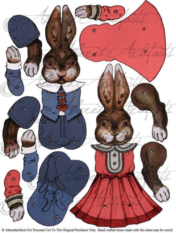Druckbare Ostern Hase Papier Marionette Druckbare Antikes Papier Puppe Beweglich Marionette Hampelmann Collage Blatt Sofortigen Download