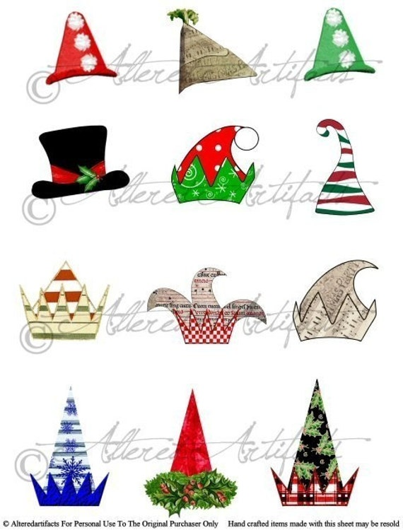 Christmas Hats.Printable Christmas Hat Printable Art Paper Doll Hats Printable Altered Art Doll Hats Printable Digital Collage Sheet Instant Download