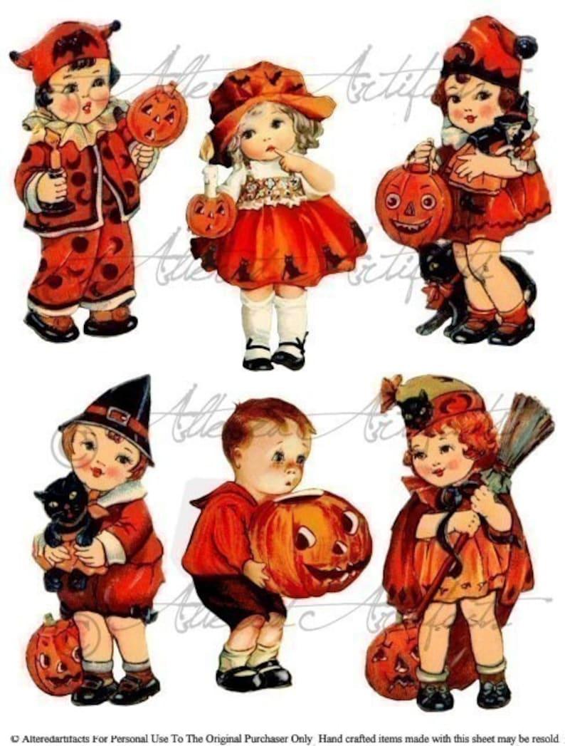 Retro Vintage Halloween Clip Art.Printable Vintage Halloween Clip Art Trick Or Treaters Retro Halloween Scraps Digital Collage Sheet Instant Download Trick Or Treat