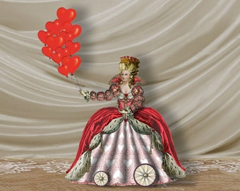 2 Sheets Queen Of Hearts Marie Antoinette Valentine Lady in Red Instant Download Paper Doll Puppet Vintage French Digital Collage Sheet