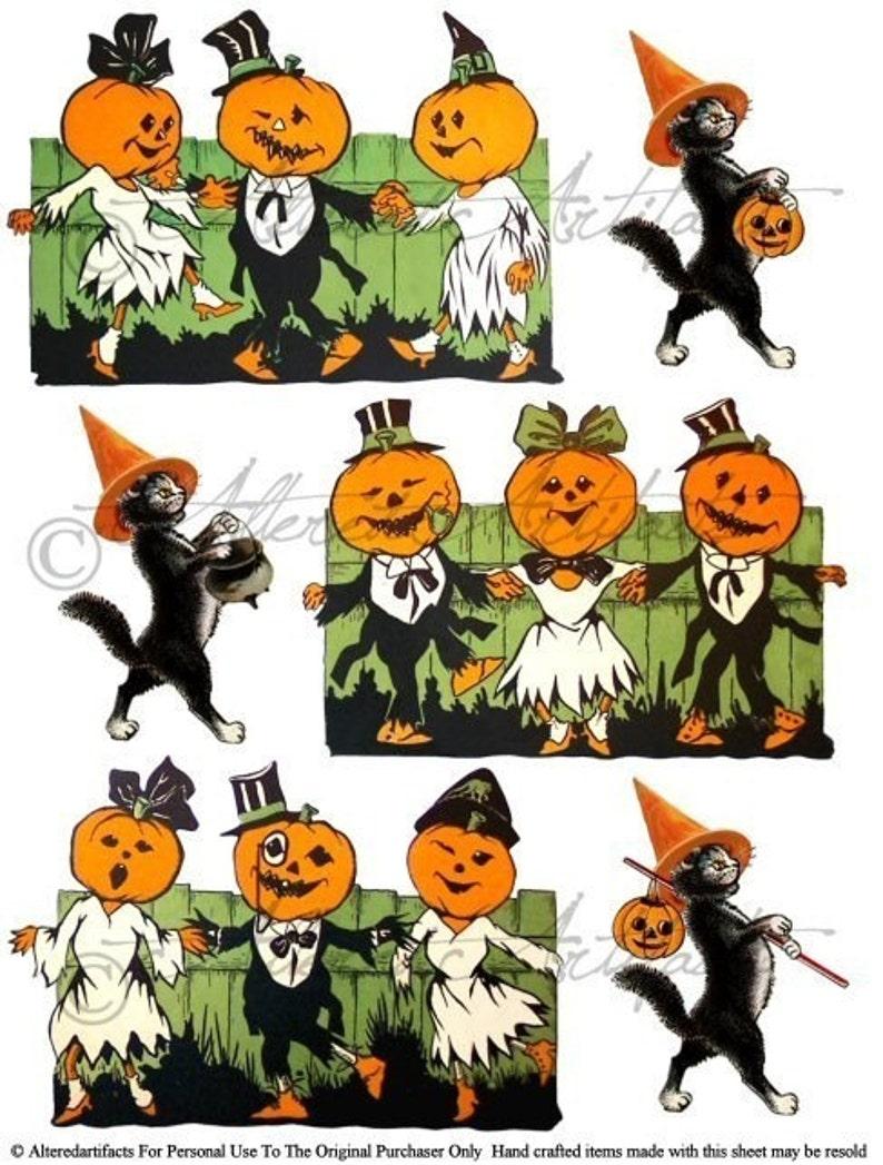 Retro Vintage Halloween Clip Art.Printable Vintage Halloween Clip Art Pumpkin Dance Party Printable Retro Scraps Black Cat Puppet Digital Collage Sheet Instant Download