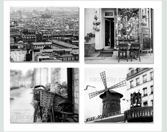 SALE, Black and White Paris Photography, Set of 4 Prints, Travel Gift