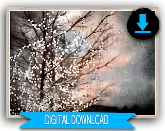 Printable Christmas Print, Farmhouse Decor, Tree Print, Gold, Copper, Silver, Neutral, 50x70 8x10 5x7 16x20