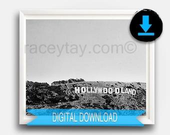 Black & White Hollywoodland Sign, Printable Fine Art, Retro Los Angeles Print, 16x20 California Prints, Vintage, 40s 1940s
